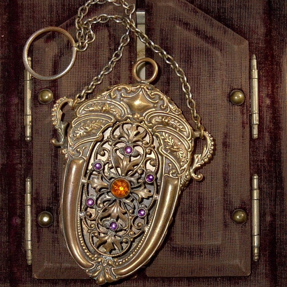 Chatelain ANTIQUE Victorian Brass Filigree Purse