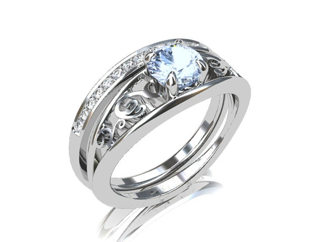 Engagement Ring Set Aquamarine Ring Diamond By TorkkeliJewellery
