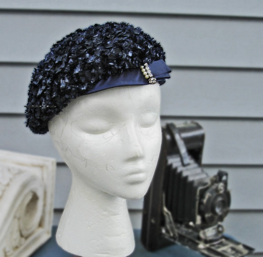 SALE 1960s Sassy and Chic Cello and Rhinestone Navy Blue Beret 22