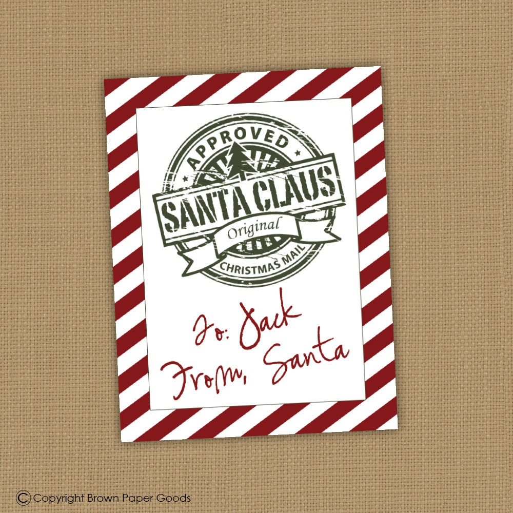 PRINTABLE Gift tag from Santa. Personalized gift tags. Santa Approved