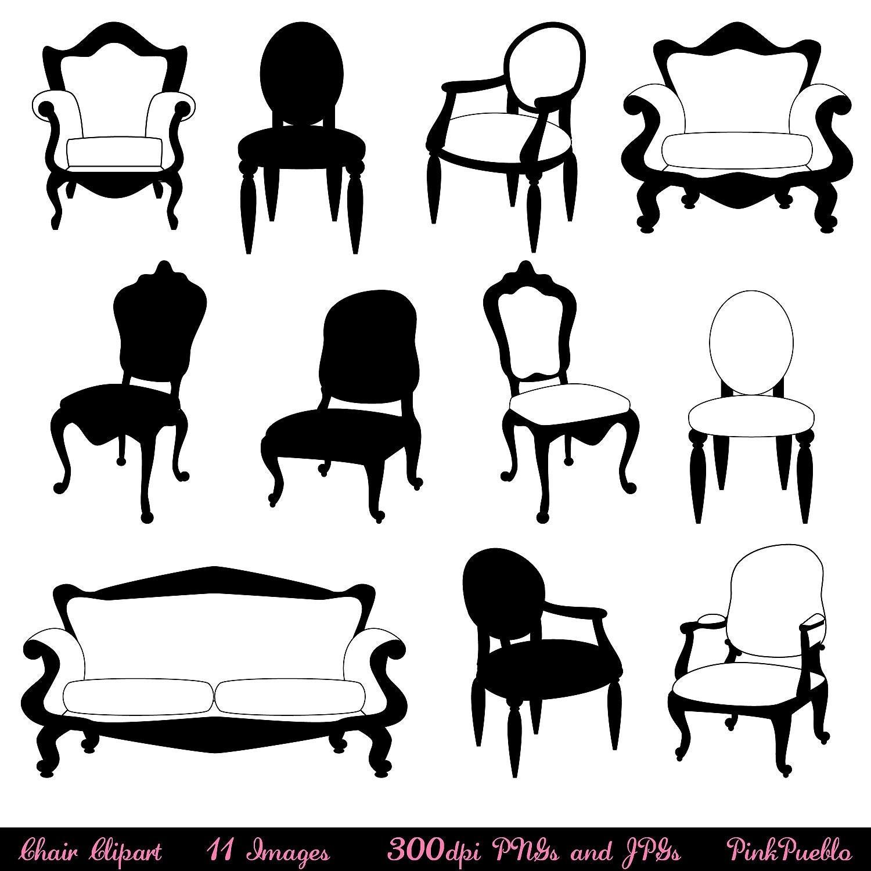 chair clip art clipart chair silhouettes furniture by pinkpueblo