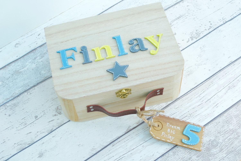 Wooden Memory Box Keepsake Box Baby Boy suitcase style Memory Box Balloons Stars  New Baby Gift Birthday Gift Personalised Memory Box