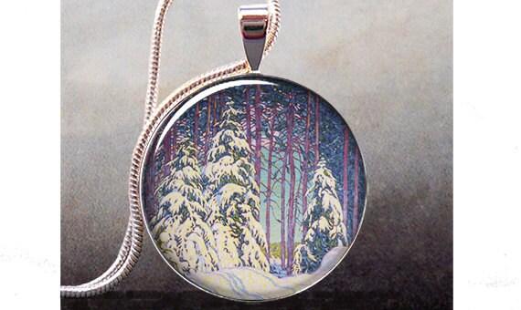 Winter Sunrise pendant, winter snow necklace charm, tree jewelry resin pendant, snow jewelry