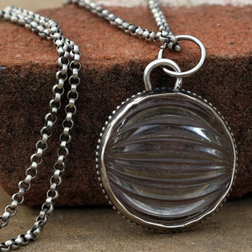 Nautical Glass and Sterling Silver Necklace