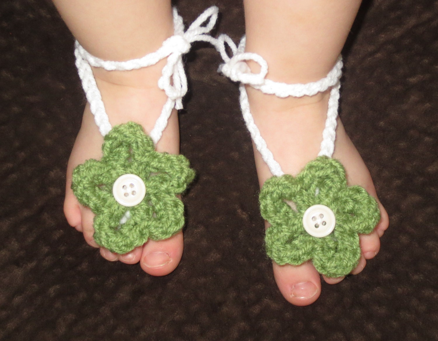 Barefoot Flowered Sandals : ready to be shipped - simplyyarn27