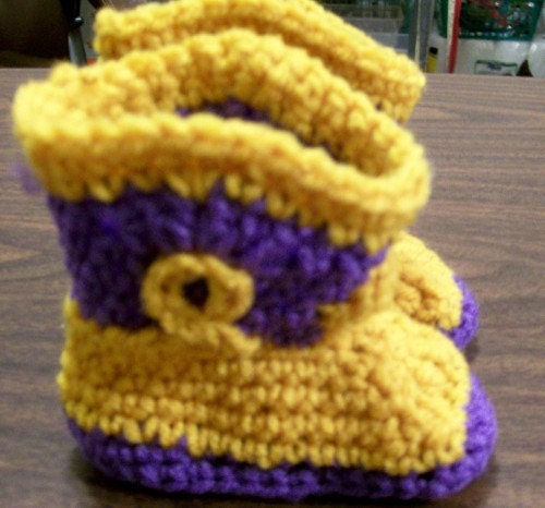 Purple and Gold Baby Toddler Crochet Cowboy Boots-With Gift Box-handmade custom boutique newborn girl-LSU colors