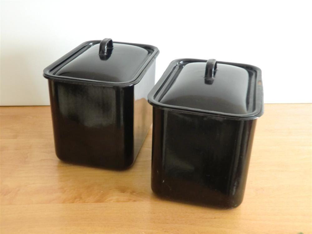 Vintage Pair of Black Enamel Lidded Tins