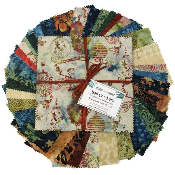 "Bali Crackers in Tiramisu - 40 Handpainted Batik 10"" Squares from Hoffman Fabrics - FabricFascination"
