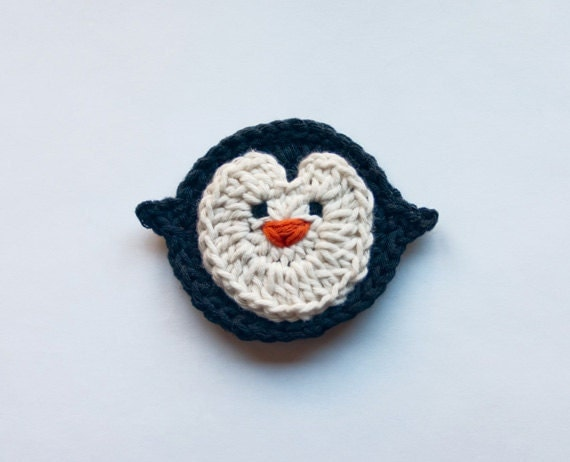 PDF Crochet Pattern - Penguin Applique - Text instructions and SYMBOL CHART instructions - Permission to Sell Finished Items
