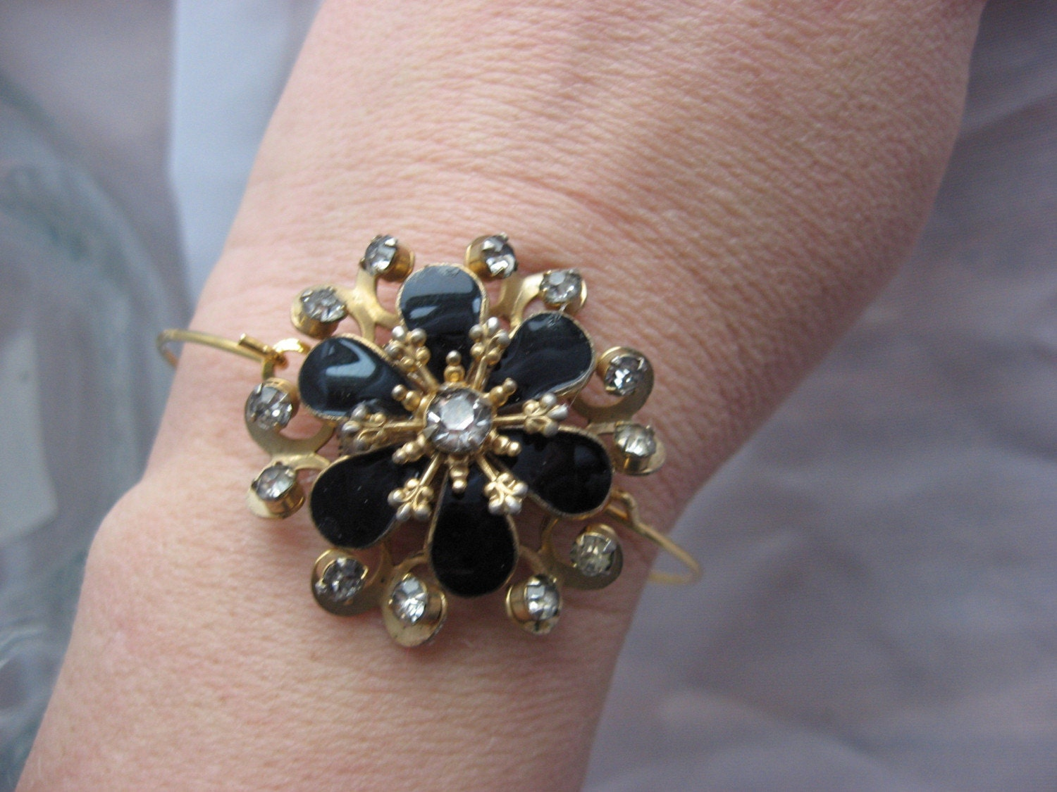 Royalty a revamped rhinestone and black cuff bracelet