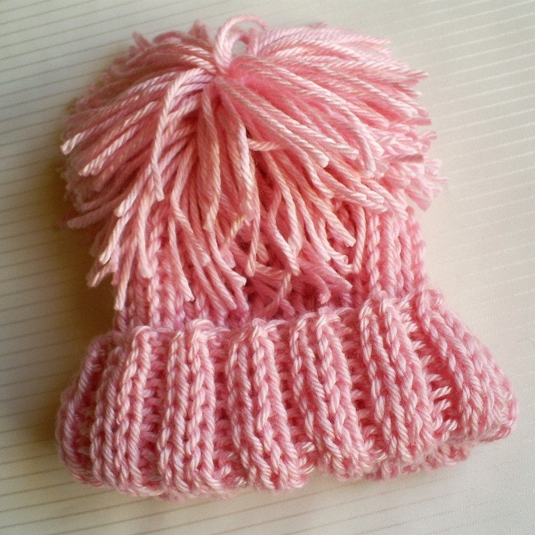 Hand Knit Pink Baby Hat 0-6 Months