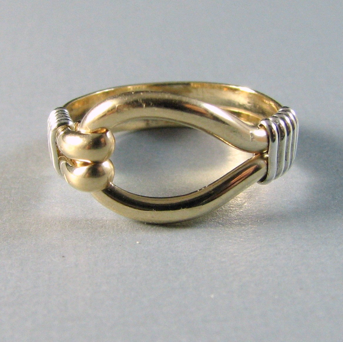 14K GF Sterling Silver Two Tone Loop Ring Custom Sized