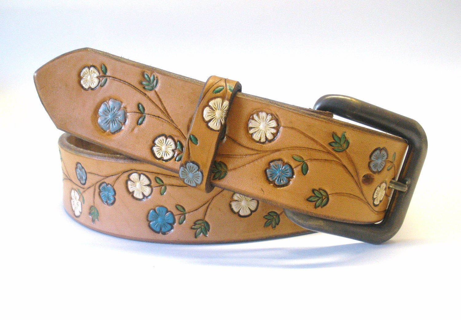 Tan Brown Leather Belt with Blue and Cream Hand Stamped Flowers Retro Boho Hippie Women's Leather Belt - BirdhouseDesigns