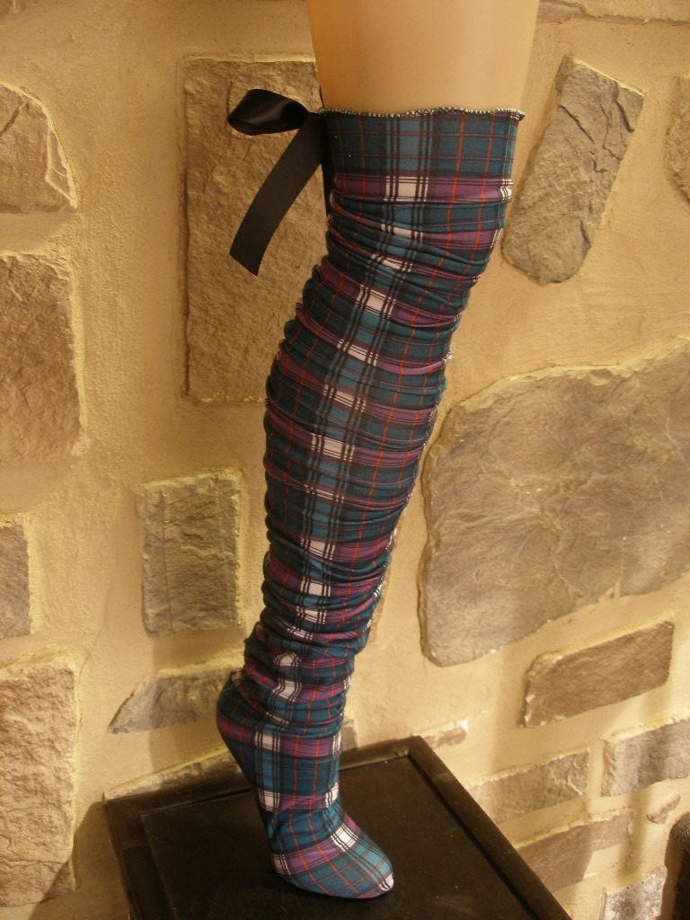 Womens, Girls, Long Cute Plaid Stocking Socks, Thigh Highs, Leg Warmers, with Removeable Bow