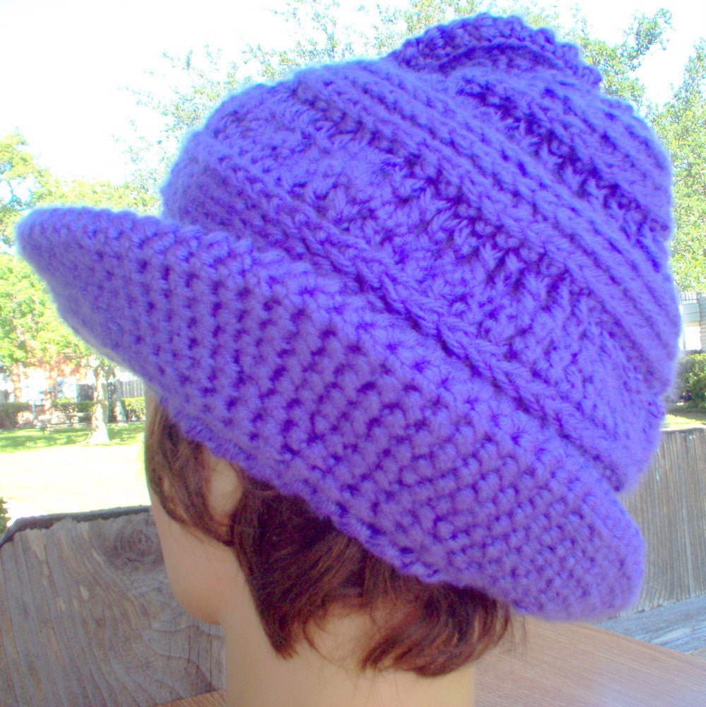 Twisted Cloche Hat in Purple  Crocheted by strawberrycouture