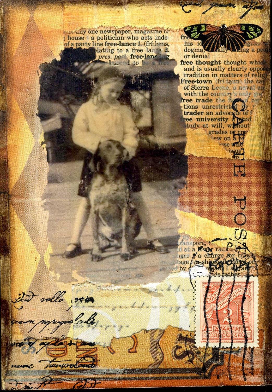 altered art postcard collage