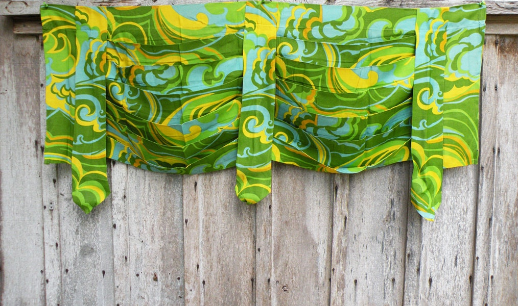 Four green yellow and turquoise vintage swag by heartkeyologie - Turquoise and yellow curtains ...