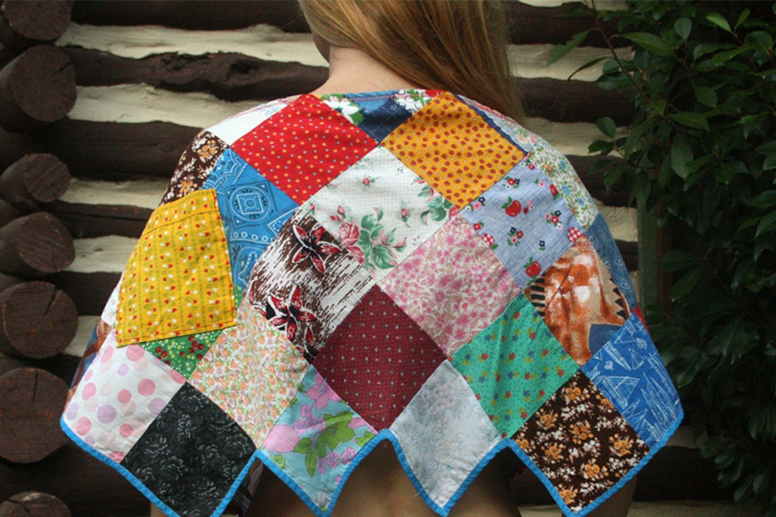 Patchwork Hippie Capelet Poncho in Upcycled Vintage Cotton