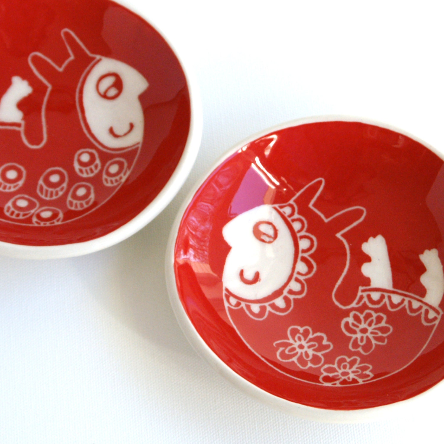 Mr and Mrs red bunny little dish set - Belinism