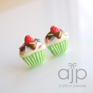 cupcake post earrings by A Jillion Pieces