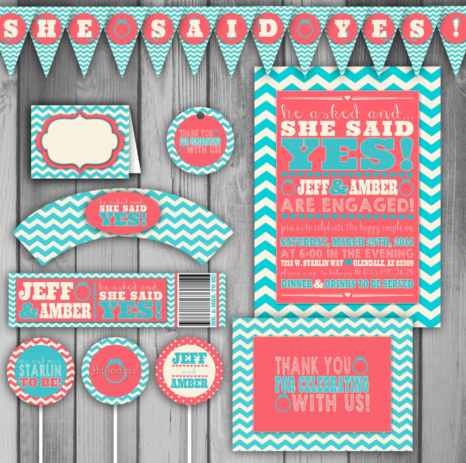 Engagement party invitation engagement party by claceydesign for Etsy engagement party invites