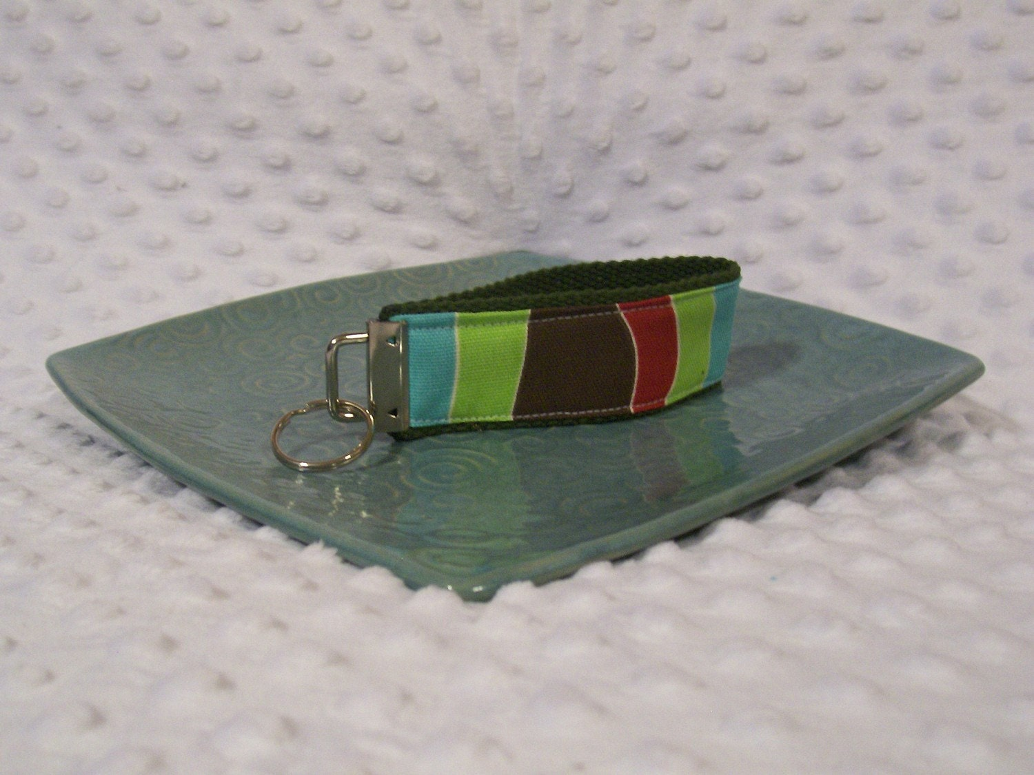 Striped Brown, Red, Green and Blue Key Fob