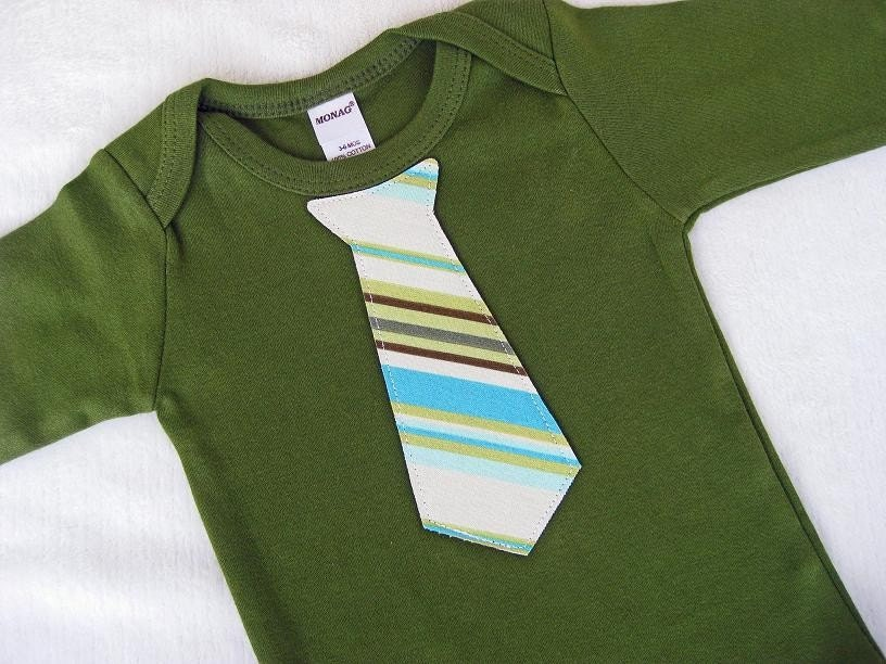 Any Tie on a LONG SLEEVE Olive Green Tie Onesie / Bodysuit Sizes 0-3, 3-6, 6-12 and 12-18 months -- Pick Your Favorite Tie
