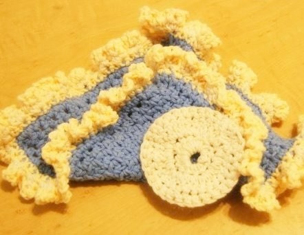 Blue Cream Washcloth with Scrubby