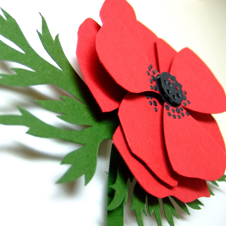 Hand cut papercut of red anemone poppy - framed - OOAK