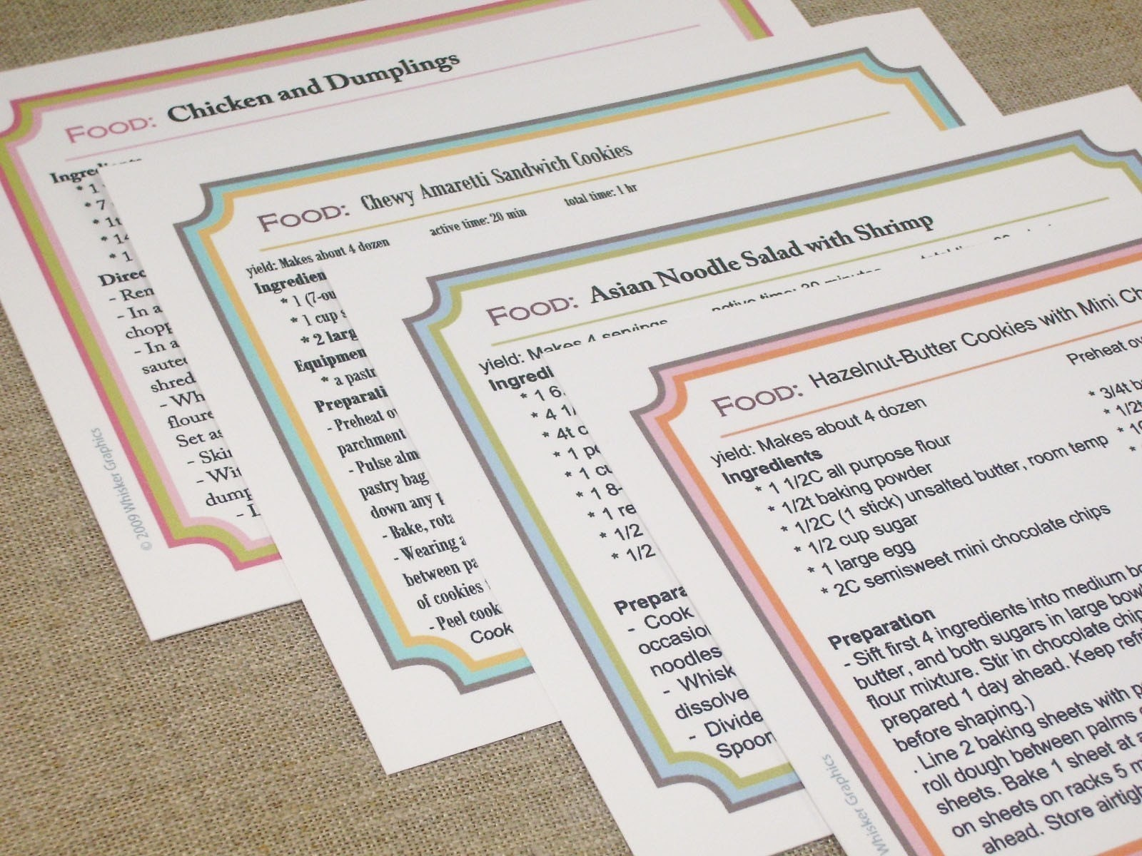 free printable recipe card template Book Covers