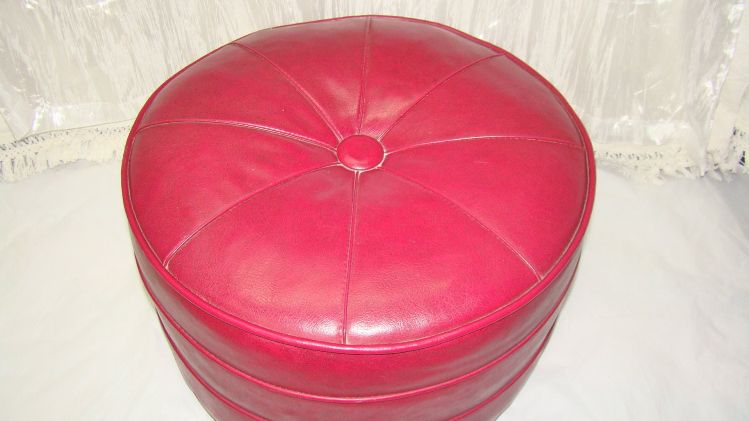 Vintage large round ottoman pouf hassock in by thegrayfedora for Small storage hassocks