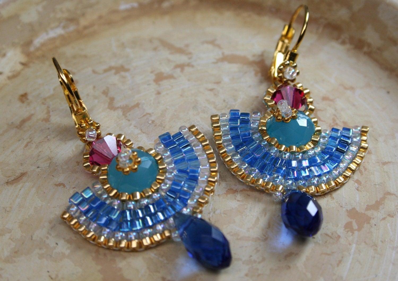 Egyptian Earrings Bead Woven