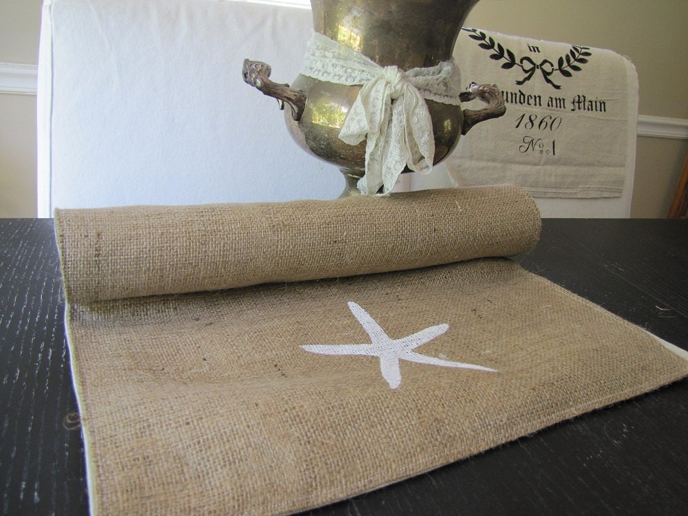 by funkyshique Burlap runner etsy Table Linen table  & Starfish on Runner Etsy