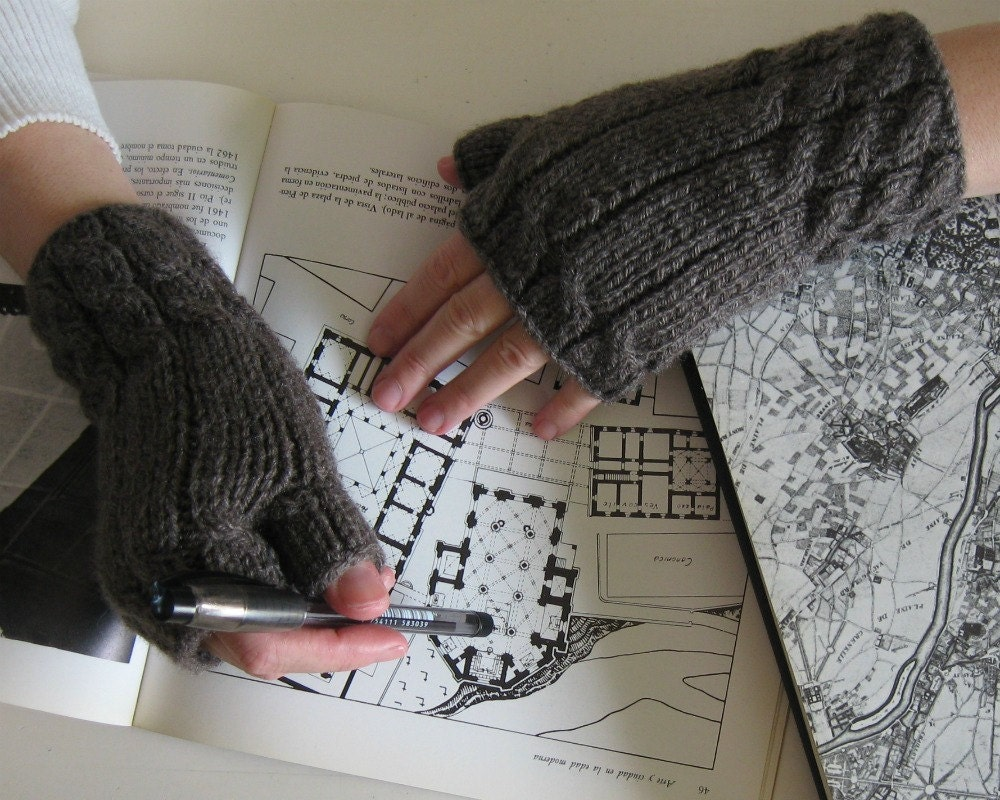 Fingerless Gloves  Taupe Grey by branda on Etsy