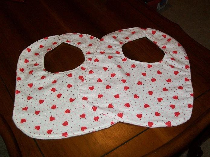 Baby Bibs in Heart Design  Set of 2