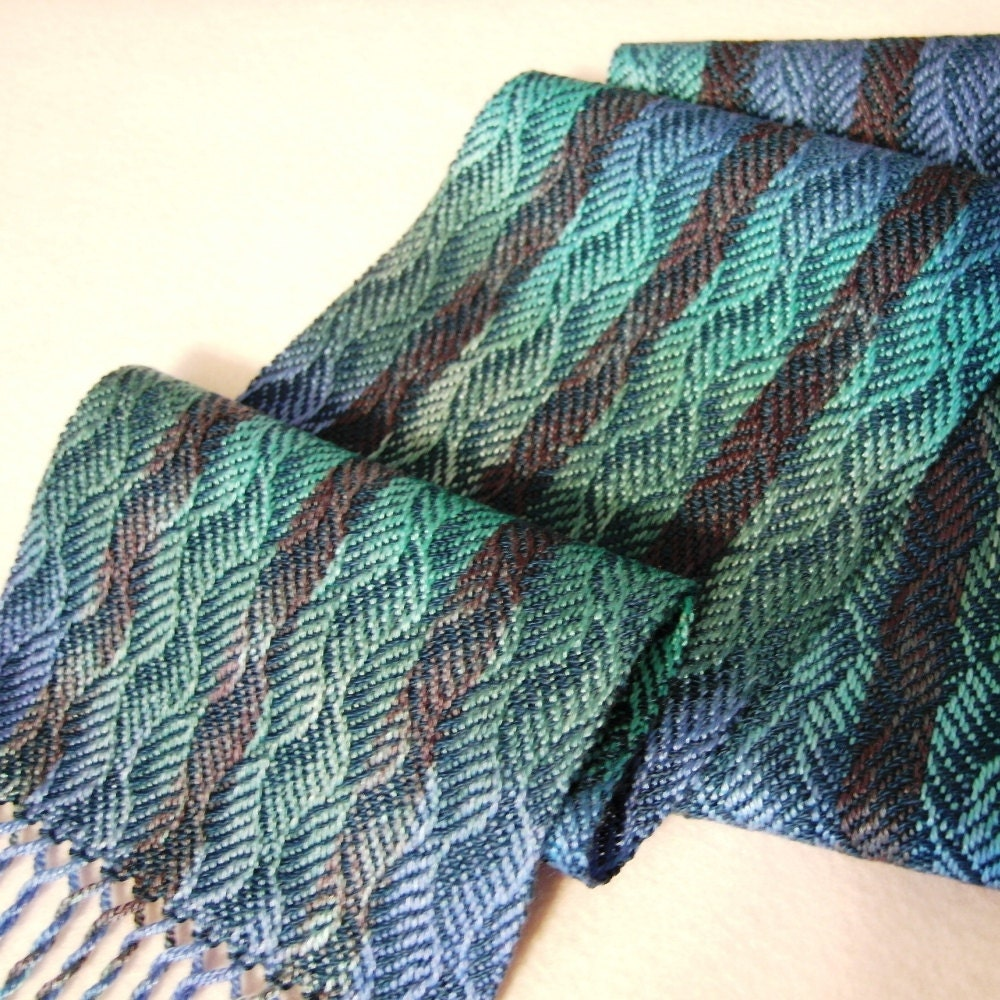 Handwoven Tencel Scarf - Deep Blue Sea Waves Hand Woven Scarf - Teal Weft - eweniquelyewe