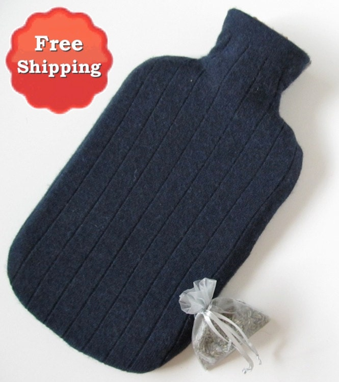 Navy Gray 100 Cashmere Hot Water Bottle Cover By