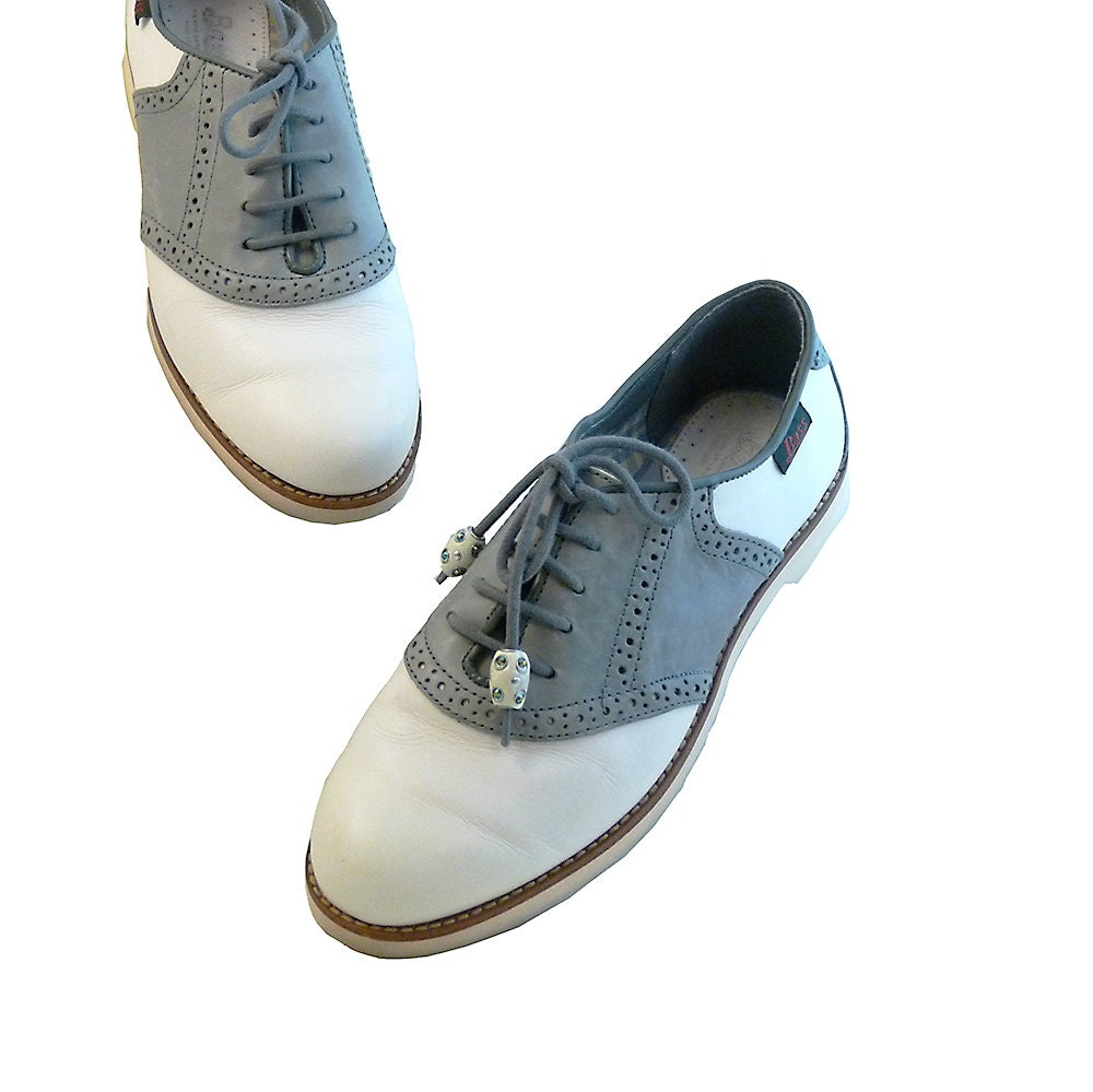 retro saddle shoe brogue oxfords blue and white by
