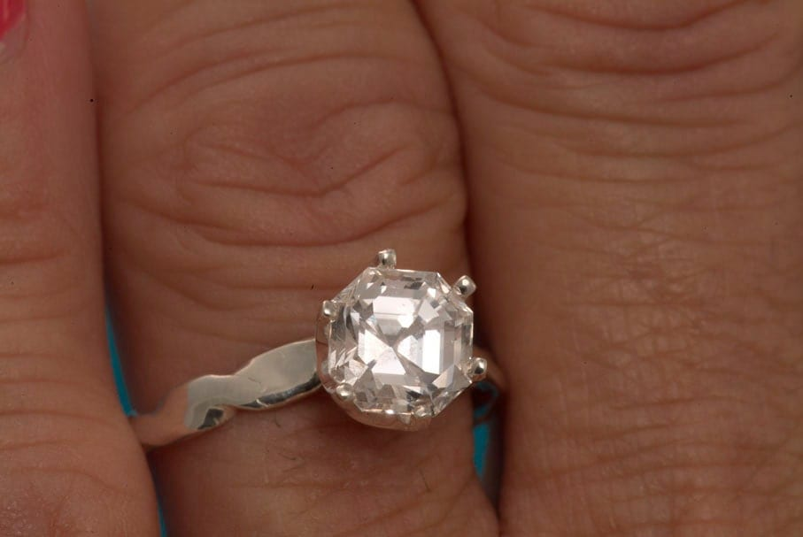 Natural White Sapphire Asscher Cut Engagement Ring by janeysjewels