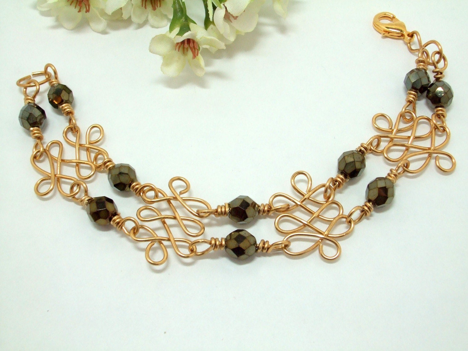 Brass and Iris Brown Czech bead bracelet, Victoria