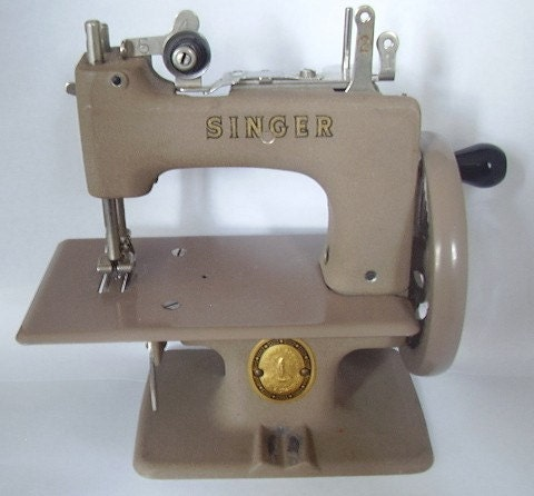 Vintage Tan Singer Toy Sewing Machine