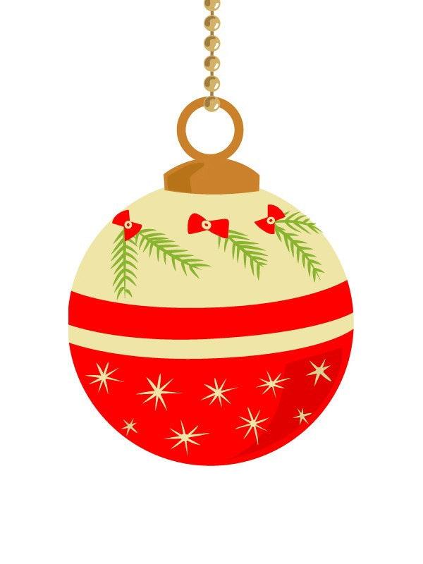 10 vintage Christmas ornament clip art  pastel color  retro Christmas    Vintage Christmas Ornaments Clipart