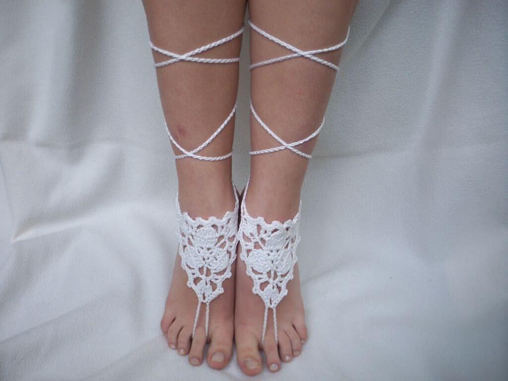 white barefootsandals lace yasosandals