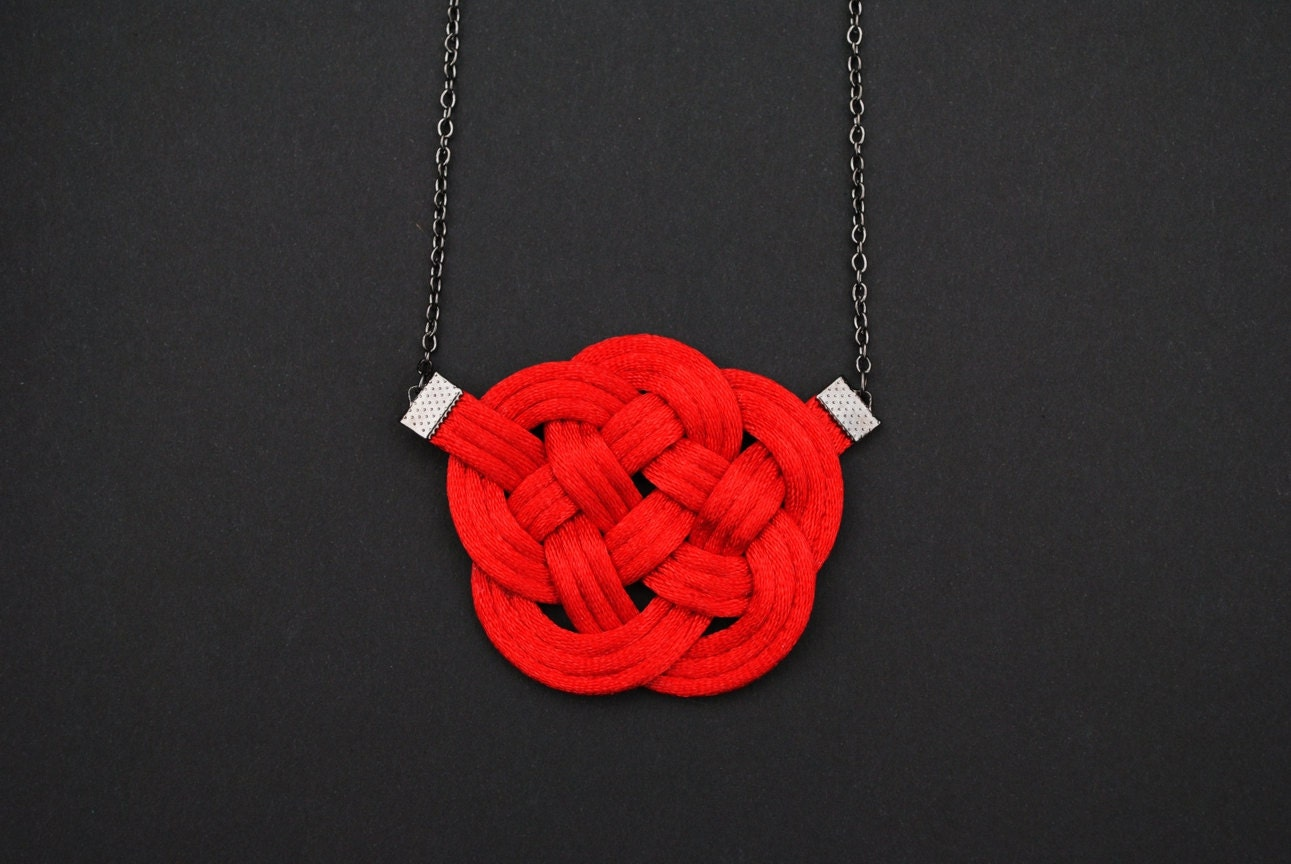 Red necklace knot necklace red nautical necklace knotted necklace fiber necklace satin cord necklace japanese style summer trends