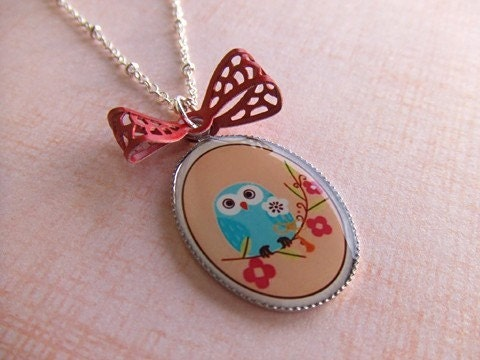 CHERRY BLOSSOM OWL necklace