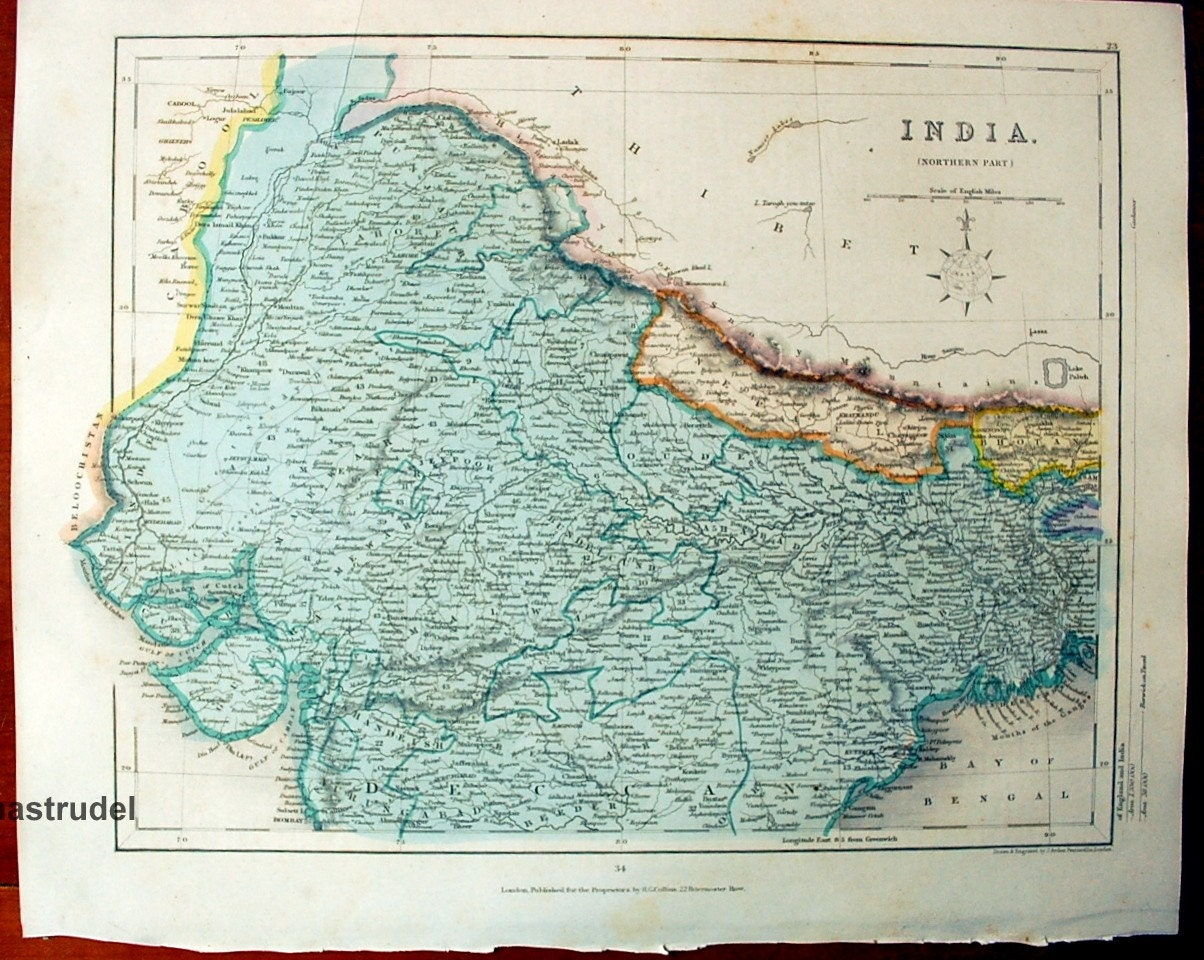 1842 Exquisite Antique Hand-Coloured Map of the Northern Part of India. From Gilbert's Modern Atlas