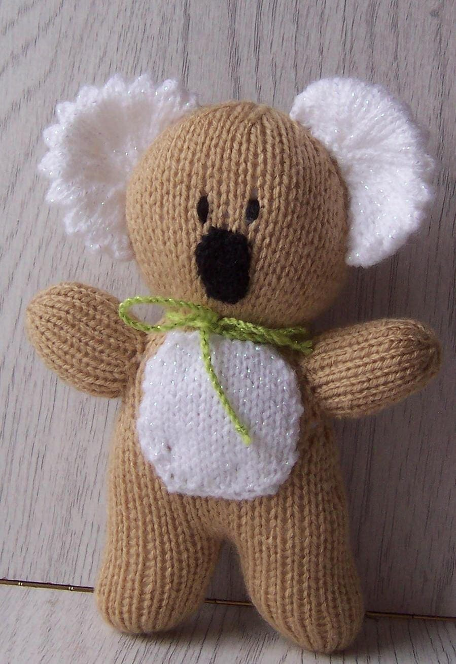 Hand Knitted Koala Hand knitted Toy  Stuffed Toy Koala toy with bow hand made koala toy baby gift