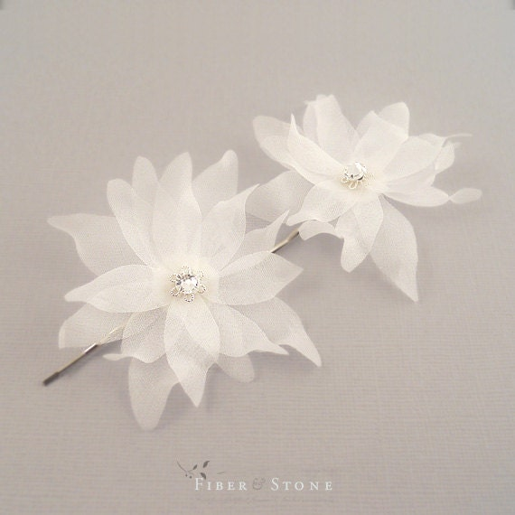 Bridal hair Flowers, Petite bridal hair accessories,  Bridal hair piece, Silk, Bridal hair pins, Set of 2, SWAROVSKI crystals, Summer