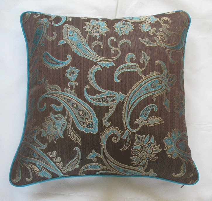 Aqua Brown Decorative Pillows : Items similar to brown throw pillow cover with aqua blue paisey design 18 inch on Etsy