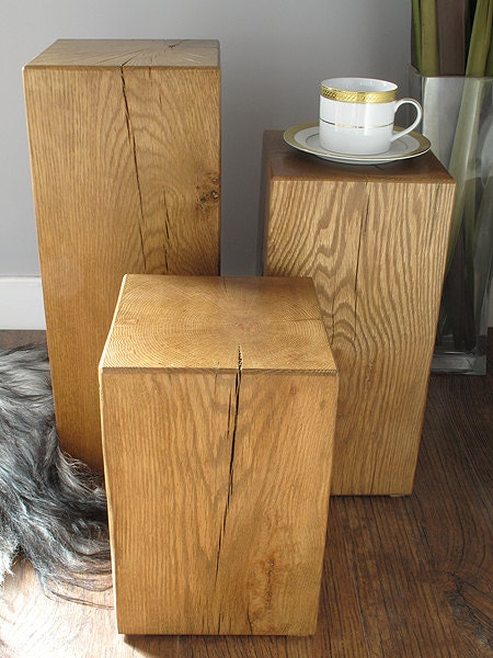 Heavy solid oak block beam lamp or side end tables. Set of 3 mixed sizes in medium oak with a clear wax finish.